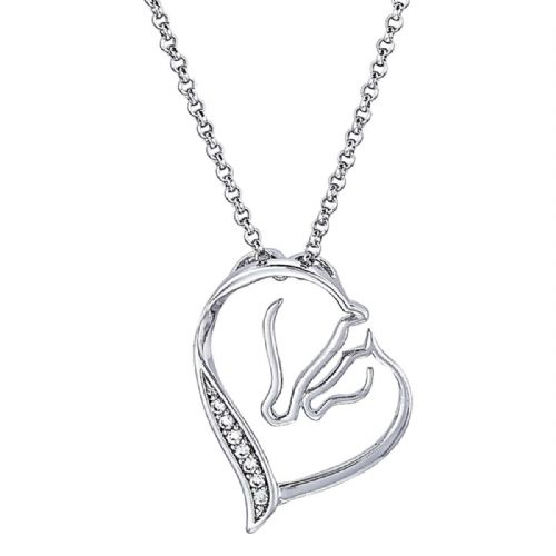 Sterling Silver Diamante Mare & Foal Necklace
